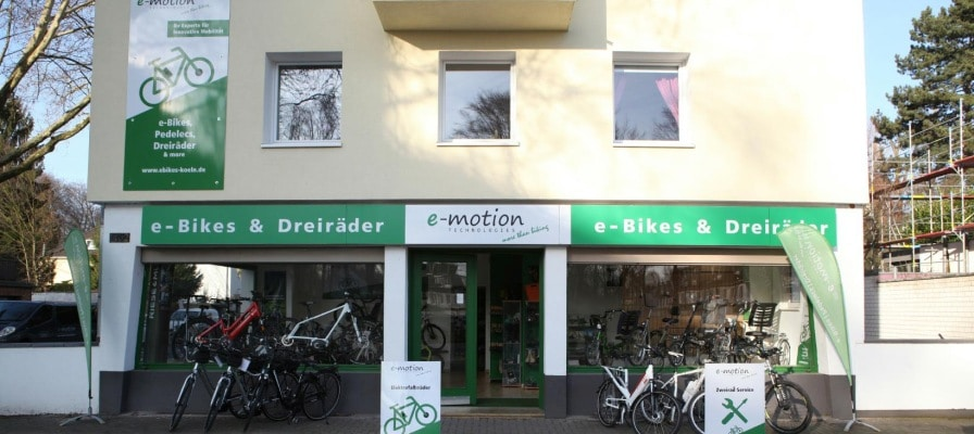 Außenansicht des e-motion e-Bike PremiumShops Köln