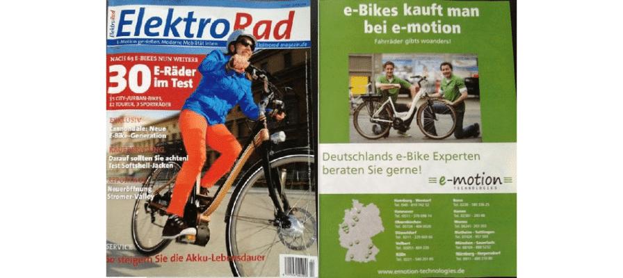 """e-motion e-Bike Experten mit großer Anzeige in der """"ElektroRad"""""""