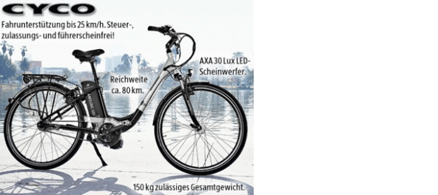 e-Bike der Marke Cyco bei Aldi Süd erhältlich