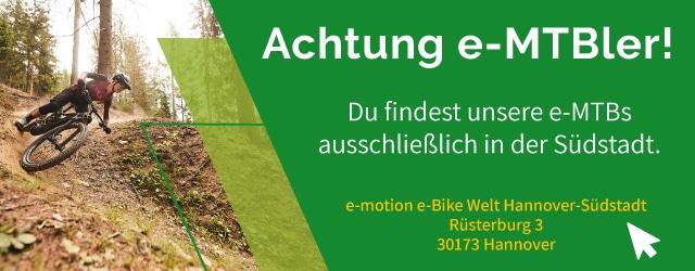 e-Mountainbikes findet ihr in der e-motion e-Bike Welt Hannover Südstadt