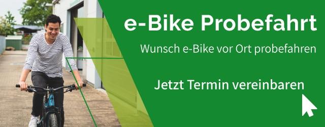 Banner zur e-Bike Probefahrt in Frankfurt: Wunsch e-Bike vor Ort probefahren