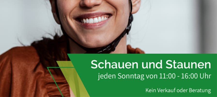 Banner zum Schausonntag in der e-motion e-Bike Welt Tuttlingen