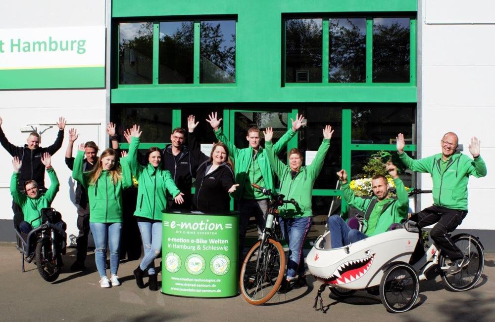 Das Team der e-motion e-Bike Welt Hamburg freut sich auf deinen Besuch