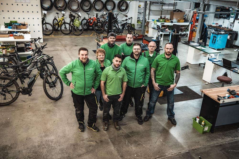 Das Auslieferung/Neurad-Team des e-motion e-Bike Premium Shops Velbert