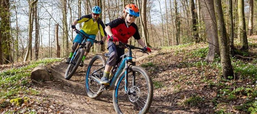Vater fährt mit Sohn auf e-Mountainbikes durch den Wald
