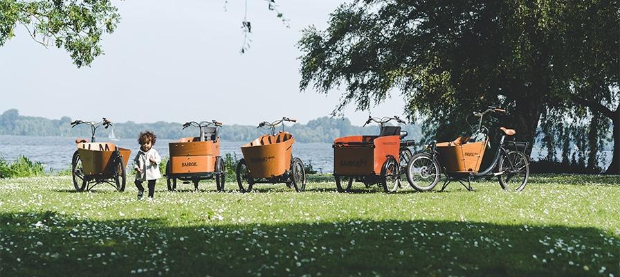 Viele Lastenräder von Babboe in der Natur