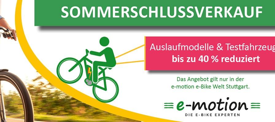 Banner zum Sommerschlussverkauf in der e-motion e-Bike Welt Stuttgart