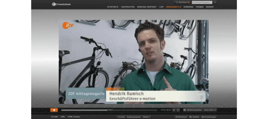 ZDF Mittagsmagazin fast einen Tag lang beim e-motion Premium-Shop in Düsseldorf Nord