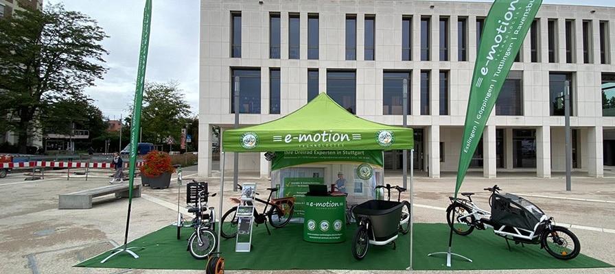 Stand der e-motion e-Bike Welt Stuttgart beim Aktionstag klimafreundliche Mobilität