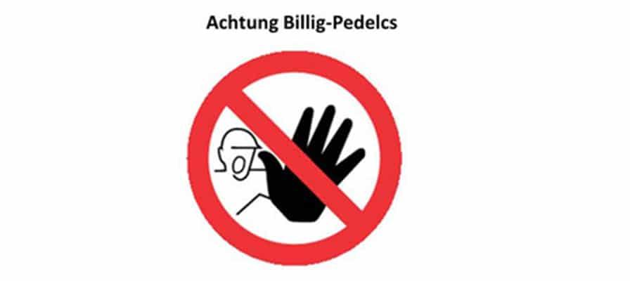 Symbol, das vor Billig-Pedelecs warnt