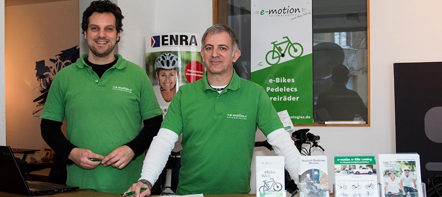 Das Team der e-motion e-Bike Welt in Worms mit Inhaber Niklas Gustke