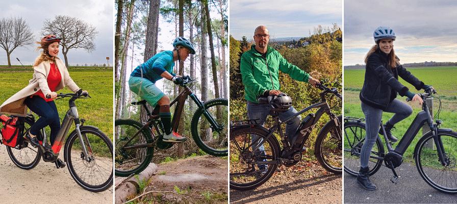 Vier e-Bike Testfahrer zu vier verschiedenen Jahreszeiten in der Natur