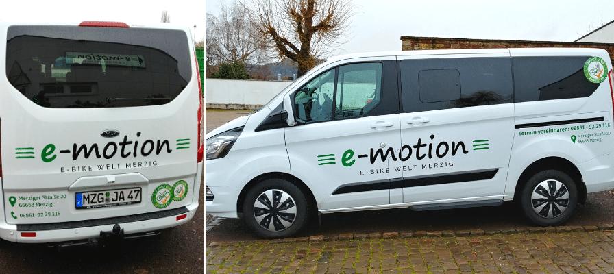 Liefertransporter der e-motion e-Bike Welt Merzig