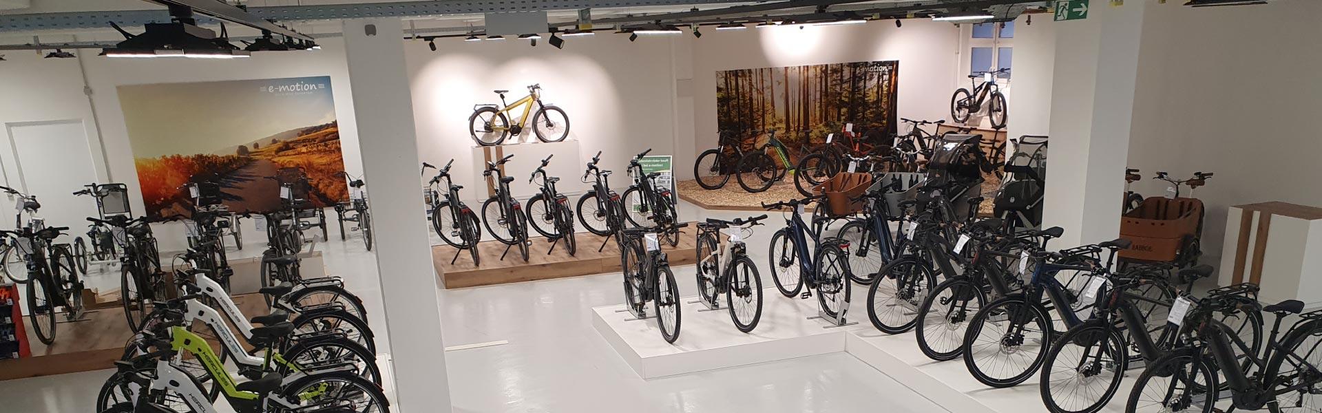Innenansicht mit vielen verschiedenen e-Bikes in der e-motion Welt Pforzheim