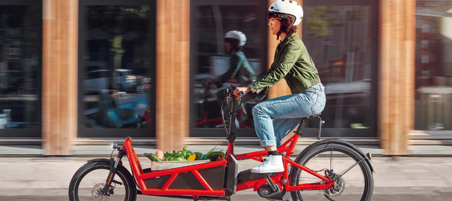 Fahrerin transportiert Gemüse in ihrem Lastenrad