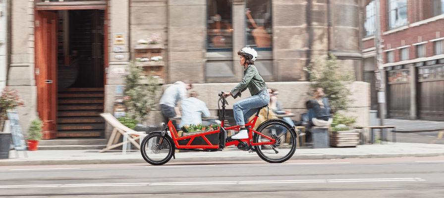 Frau transportiert ihr Gemüse im Lastenrad durch die Stadt