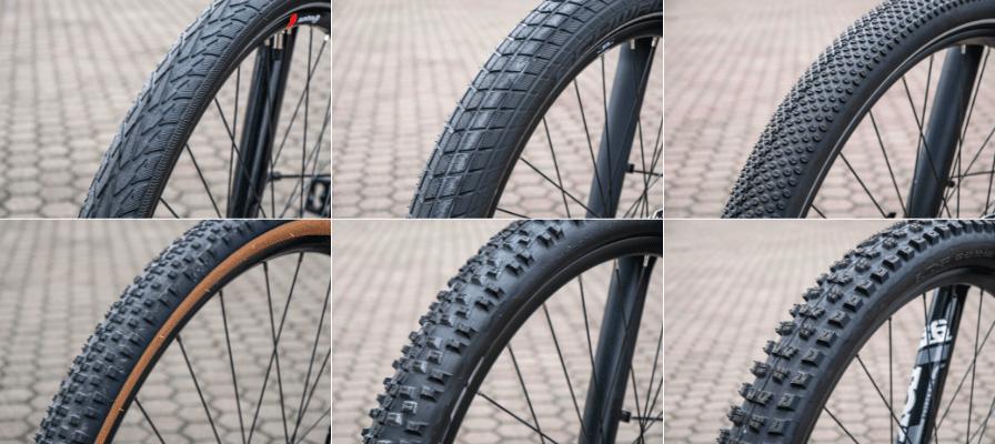 Sechs verschiedene Reifenprofile im Vergleich