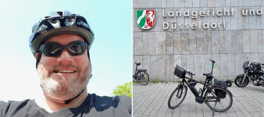 Collage eines e-Bikes Fahrers und eines e-Bikes vor dem Landesgericht Düsseldorf